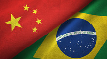 China And Brazil Two Flags Textile Cloth, Fabric Texture