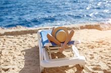 Beautiful Woman Sunbathing On ...