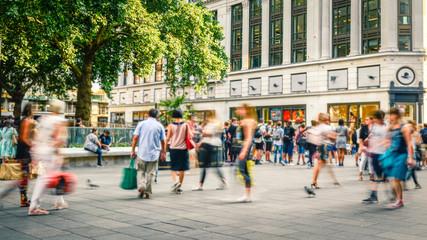 Busy motion blurred London street scene