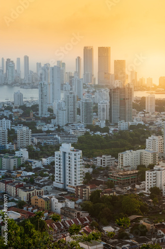 Fotografía  Colombia, Caribbean coast, Cartagena, view of upmarket residential buildings in
