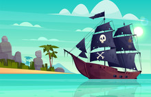 Vector Cartoon Pirate Ship On ...
