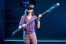 Woman In Virtual Reality Imagi...