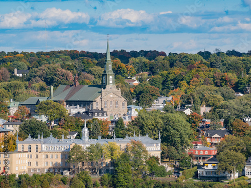 Photographie  Afternoon sunny view of Levis city, Our Lady of Victory Church with fall color