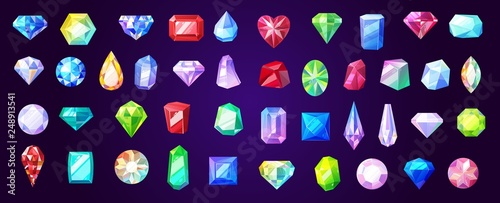 Gems, diamond and ruby vector precious stones Canvas Print