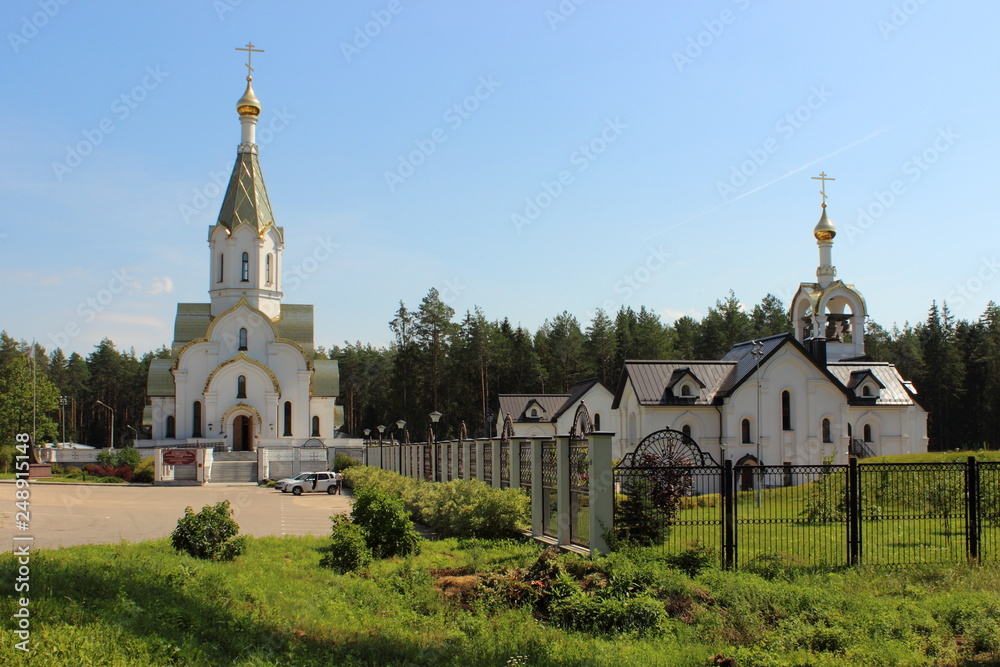 Fototapety, obrazy: Temple of the Resurrection of Christ and pilgrims hotel near memorial in Katyn', Smolensk area / Russia