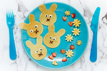 Easter Bunny Pancakes , Funny Breakfast Idea For Kids