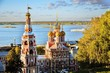 Leinwanddruck Bild - Architecture and nature of Nizhny Novgorod, Russia. Nativity (Stroganoff's) Church, also known as the Cathedral of the Blessed Virgin Mary. Popular touristic city situated on the Volga river.