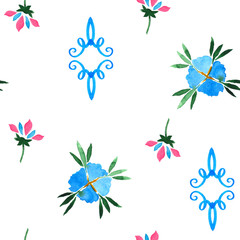 Floral watercolor seamless pattern. Decorative background.