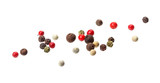 Pepper mix. Black, red, white and allspice peppercorn seeds isolated on white background