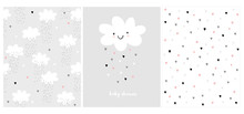 Cute Simple Baby Shower Vector Card And 2 Patterns.White Fluffy Smiling Cloud On A Light Gray Background.Rain Of Hearts. White Baby Shower.Pink, White And Gray Design.Heart Pattern.Clouds And Rain Art