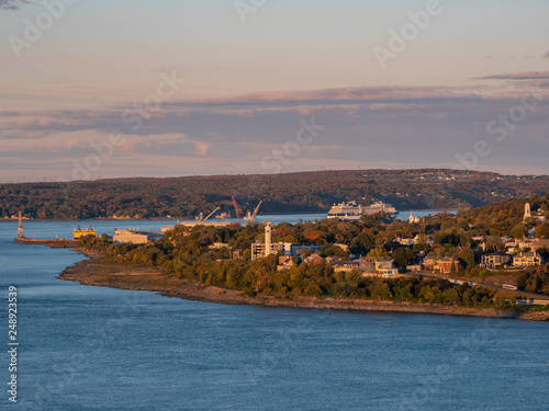 Sunset view of the Levis city and St Lawrence River Poster Mural XXL