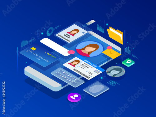 Photo  Isometric Personal Data Information App, Identity Private Concept