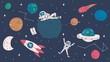 Cute space exploration doodles. Space elements: stars, rockets, astronauts, planets etc. Vector illustration