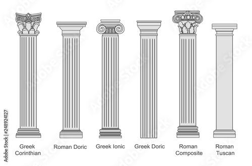 Ancient pillars set isolated on white background Canvas Print
