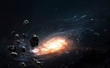 Asteroid field against galaxy, awesome science fiction wallpaper, cosmic landscape. Elements of this image furnished by NASA