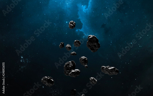 Nebula, asteroid field, cluster of stars in deep space Canvas Print
