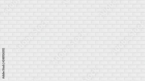 Fototapeta Plain white ceramic mosaic tiles texture background. Metro tiles. Horizontal Long wide picture. obraz na płótnie