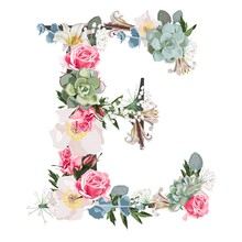 Watercolor Style Floral Monogram Letter E With Many Kind Of Flowers And Succulent. Isolated White Background.