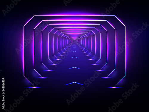 Fotografia  Endless futuristic tunnel glowing neon illumination vector