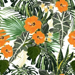 FototapetaFloral fashion tropic wallpaper with palm leaves and exotic plants. Orange hand drawn hibiscus flower, on white background. Print hawaii jungle seamless pattern.