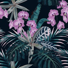 Obraz na Szkle Liście Floral fashion tropic wallpaper with dark blue palm leaves. Pink hand drawn orchid flower, on black background. Print Hawaii jungle seamless pattern.