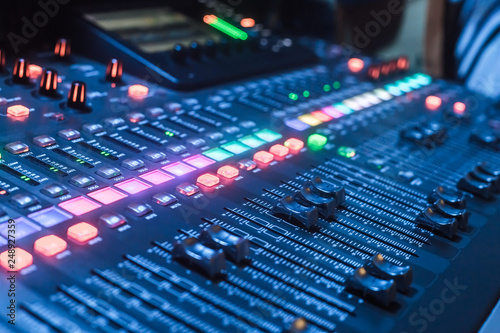 Three Quarter Audio Mixer Soundboard - Buy this stock photo