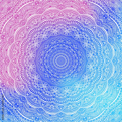Fotobehang Fractal waves Beautiful Sophisticated gredient mandala Magical colors for meditation and yoga