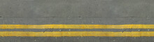 Two Continuous Yellow Lanes On The Road, Seamless Texture