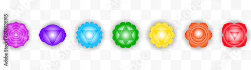 Obraz na plátně  Set of seven colorful chakras symbols isolated on transparent background