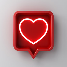 3d Social Media Notification Neon Like Heart Icon In Red Rounded Square Pin Isolated On White Wall Background With Shadow 3D Rendering