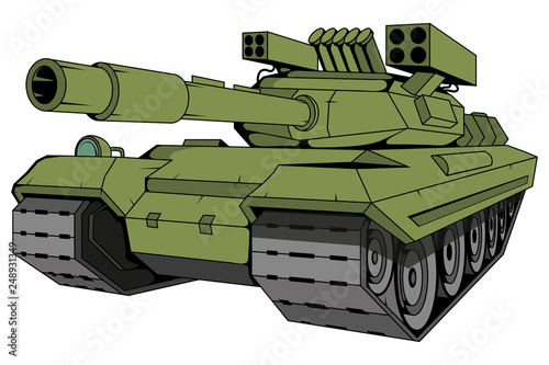 Leinwand Poster battle tank vector, vector graphic to design