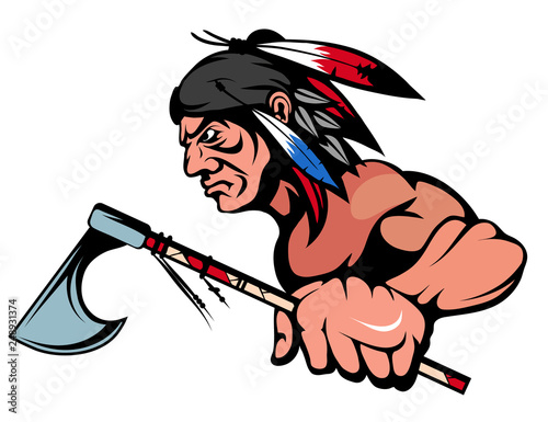 Fotomural American Indian Chief Mascot Graphic, indian warrior with a traditional weapon,