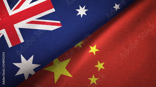 Photo  Australia and China two flags textile cloth, fabric texture