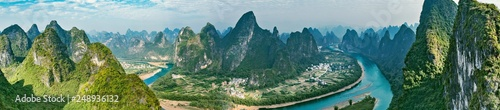 Photo Stands Guilin Panoramic view of Li River. Yangshuo. Guangxi Province.