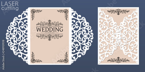 Fototapeta Laser Cut Wedding Invitation Card Template Vector Die Cut Paper Card With Lace Pattern Cutout Paper Gate Fold Card For Laser Cutting Or