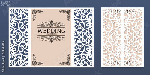 Fotografija Laser cut wedding invitation card template vector
