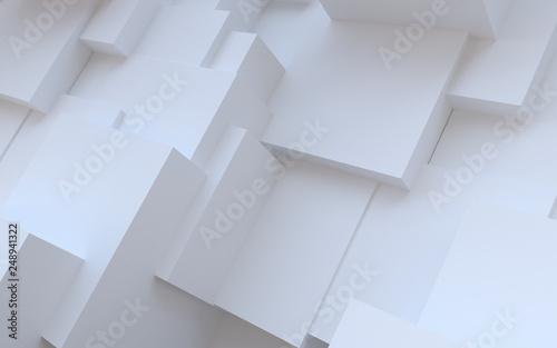 Abstract white background. Random plaster cubes - 248941322