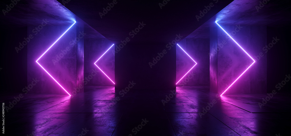 Fototapeta Sci Fi Arrows Shaped Neon Cyber Futuristic Modern Retro Alien Dance Club Glowing Purple Pink Blue Lights In Dark Empty Grunge Concrete Reflective Room Corridor Background 3D Rendering