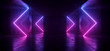 canvas print picture - Sci Fi Arrows Shaped Neon Cyber Futuristic Modern Retro Alien Dance Club Glowing Purple Pink Blue Lights In Dark Empty Grunge Concrete Reflective Room Corridor Background 3D Rendering