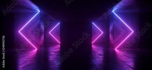 Sci Fi Arrows Shaped Neon Cyber Futuristic Modern Retro Alien Dance Club Glowing Purple Pink Blue Lights In Dark Empty Grunge Concrete Reflective Room Corridor Background 3D Rendering