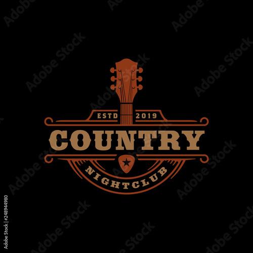 Country Guitar Music for Western Saloon Bar Cowboy logo design Wall mural