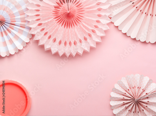 Swell Chinese Paper Fans In Pastel Colors On Pink Table Top View Interior Design Ideas Grebswwsoteloinfo