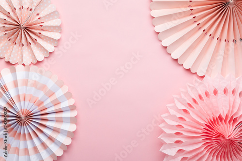 Tremendous Chinese Paper Fans In Pastel Colors On Pink Table Top View Interior Design Ideas Grebswwsoteloinfo