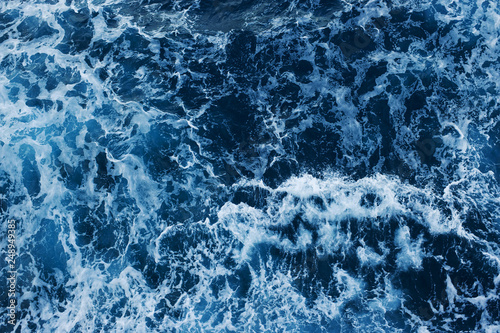Sea Level View from Above. Ocean Surface with Waves.