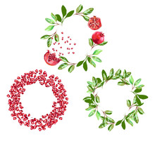 Vector Round Frame Of Pomegranate With Seeds And Leaves. Can Be Used As A Greeting Card For Background, Birthday, Mother S Day And So On.