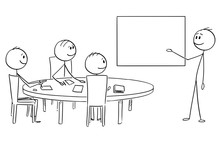 Cartoon Stick Figure Drawing Conceptual Illustration Of Businessman Presenting Success On Empty Table On Business Or Work Meeting.