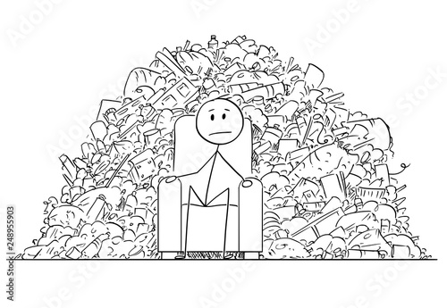 Fotografía  Cartoon stick figure drawing conceptual illustration of man or businessman sitting in armchair surrounded by pile of plastic waste or garbage