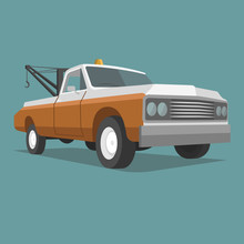 Old Vintage Tow Truck Vector Illustration. Retro Service Vehicle.