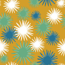 Overlapping Layers Of Sunburst Flowers In Blue, Green, White On A Mustard Yellow Background. Seamless Vector Repeating Pattern. 1960's Atomic Retro Feel, Mid Century Modern For Decor And Fashion.