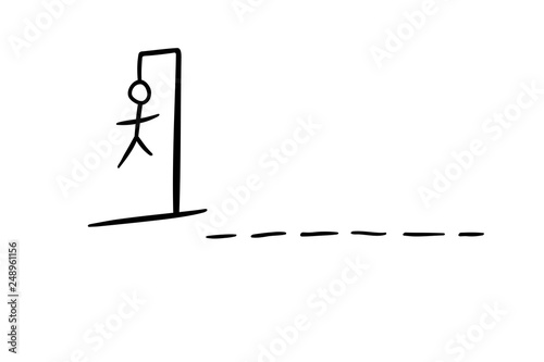 Drawing of an unsolved hangman game, vector illustration